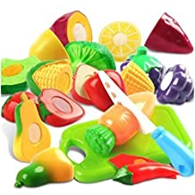 Plastic Cutting Fruits and Vegetables Set Pretend Play Toys for Kids Techege Toys Convertible Cooking Kitchen Converts to Stool for Multiple Uses