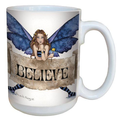 (Tree-Free Greetings lm43540 Sweet Believe Fairy Ceramic Mug with Full Sized Handle by Amy Brown, 15-Ounce )