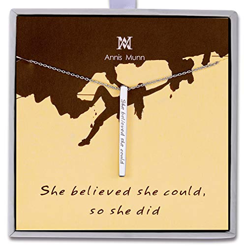 (Annis Munn 925 Sterling Silver Inspirational Bar Necklace Engraved 'She Believed she Could so she did' Jewelry Gift for Girls)