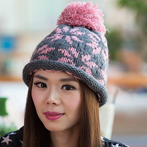 Surge Opcional de Nieve Color Copo Bola Sombrero BEIGE Knit Lana Larga Maozi del Europa aYUqFF
