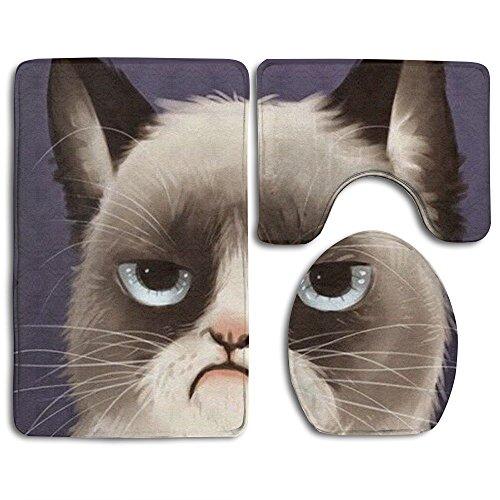 Oyhra Siamese Cats Animals Super Plush Bathroom Rugs Set Slip-resistant Toilet Mat Set Not Fade Lid Toilet Cover And Bath Mat