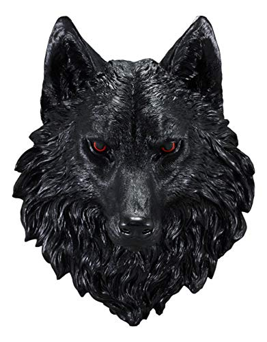 Ebros Large Underworld Lucian Black Wolf Head with Blood Eyes Wall Decor Plaque 16.5