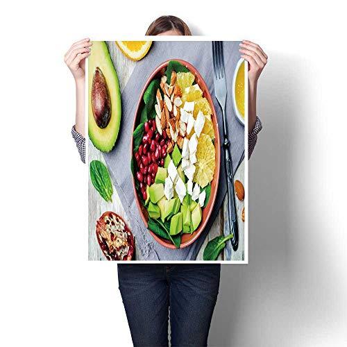 Panels Wall Art Waves Painting on Canvas Spinach feta Avocado Pomegranate Orange Almond Salad with Orange Vinegar Dress ton Painting,16