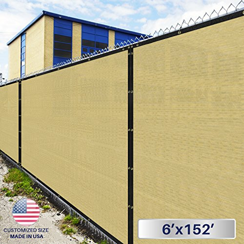 6' x 152' Privacy Fence Screen in Beige Tan with Brass Gr...