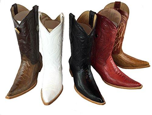 Ostrich Natural Cowboy Leather Western Leg Men's Genuine Brown Boots Handmade Luxury EfRwcO
