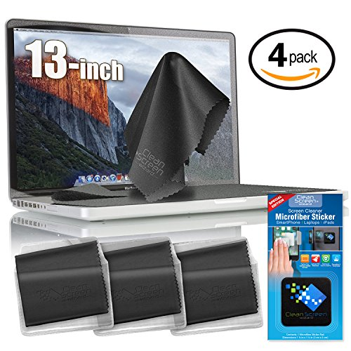 Clean Screen Wizard Microfiber Screen Keyboard Covers/ Screen Protectors Cleaner Kit, 4 PACK (3 XL Cleaning Cloths/Keyboard Covers & Microfiber Sticker for MacBook Pro 13, Air 13- Laptops 13