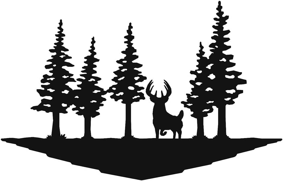 Big Game Steel Whitetail Deer Buck Pines Laser Cut Metal Wall Art Sign for Rustic Home Cabin Garage Man Cave Decor