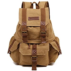 Emecca DSLR and Laptop Backpack Canvas Real Leather Camera Rucksack Bag with Rain Cover