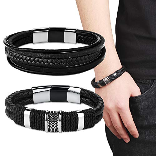 Besteel 2 Pcs Leather Multi-Layer Cuff Bracelets for Men Stainless Steel Magnetic-Clasp Cool Braided Wrist Bracelet