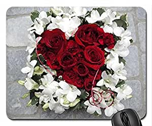 passion language of love nature white flowers carnations pink magnificent heart shape love Mouse Pad, Mousepad (Flowers Mouse Pad, 10.2 x 8.3 x 0.12 inches)