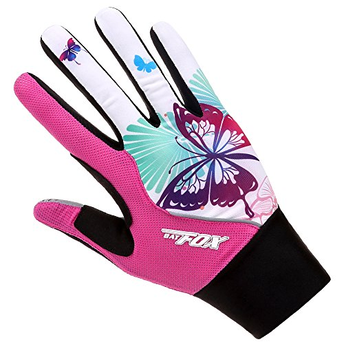 Batfox Mountain Road Bike Cycling Gloves Half Finger Gel Padded,Silicone Gripper, Comfortable Wear Resistant Leather Palm,High Elastic Breathable Fabric (553 Butterfly, S(Palm width 2.55