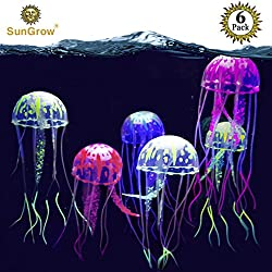 Jellyfish Aquarium Decorations (6 Pieces) - Pet & Environment Friendly Silicone Fish Tank Ornaments - Colorful Decor Glows in Blacklight - Adds Beauty to Freshwater & Saltwater Tanks and Terrariums