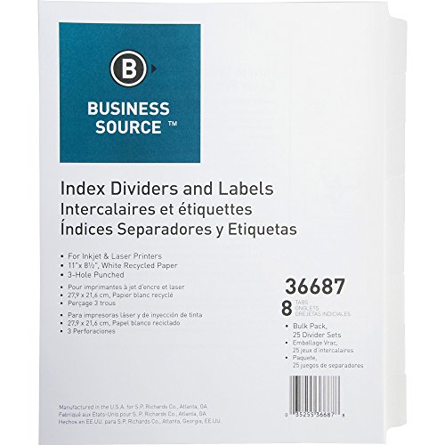 Business Source Punched Laser Index Dividers, 8 Blank Tab(s) (36687)