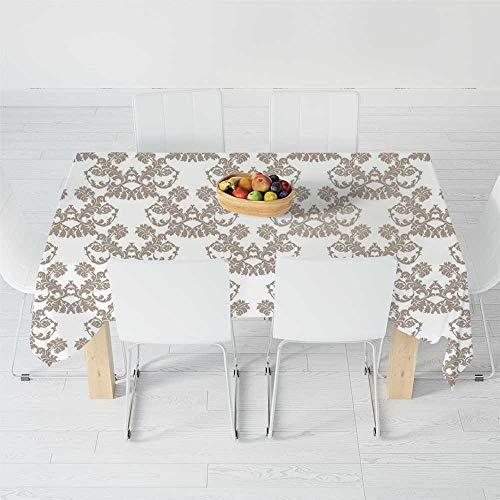Fashionable Tablecloth,Taupe,for Secretaire Square Table Office Table,54.3 X 36.2 Inch,Rococo Style Flourishing Flowers Imperial Pattern Old