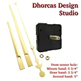 Dhorcas (#02) 3/4'' Threaded Motor and Gold 6'' Hands, Quartz Clock Movement Kit for Replacement