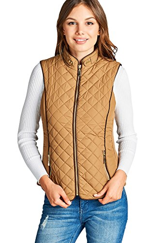 - Active USA Quilted Padding Faux Shearling Lined Vest (Camel-Small)