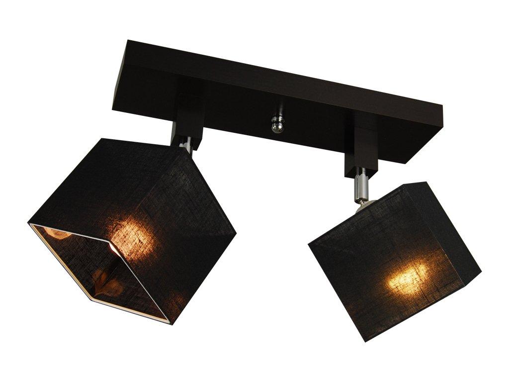 Deckenlampe - HausLeuchten LLS21SCDPR - 6 Varianten, Deckenleuchte, Leuchte, Lampe, 2-flammig, Massivholz (SCHWARZ)