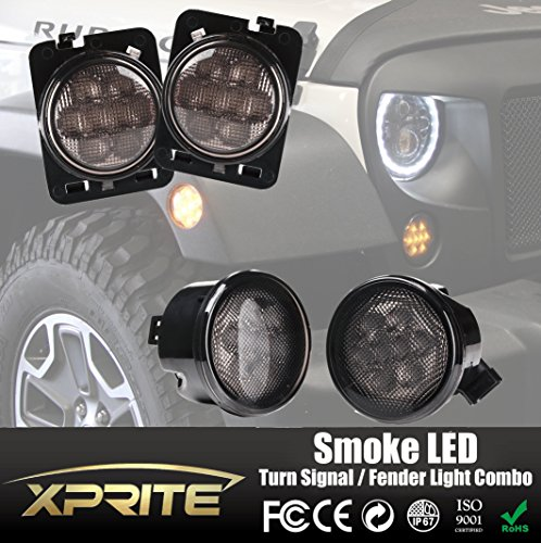 Smoke Turn Signal (Xprite Smoke Lens Yellow LED Front Replacement Turn Signal Light & Fender Side Marker Light Assembly for 2007-2017 Jeep Wrangler JK)