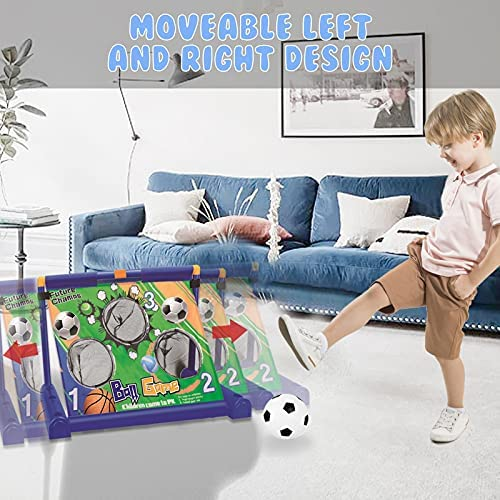 Loyaa Electric Soccer Goal Net Set, Portable Movable Football Basketball Goal Toy with Pump Interactive Games Football-gate Toy for 3-14 Year Old Kids