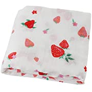 LifeTree Baby Muslin Swaddle Blanket -Strawberry Print Summer Receiving Blanket for Baby Girls - Soft Bamboo Cotton Large 47 x 47  Burp Cloth & Stroller Cover