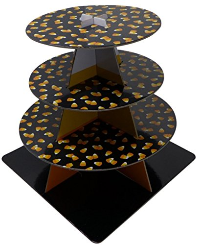 3-Tier Cardboard Cupcake & Dessert Stand Server - Candy Corn Print | Halloween Party Serveware, Tableware | Ideal for Halloween Parties & Decor