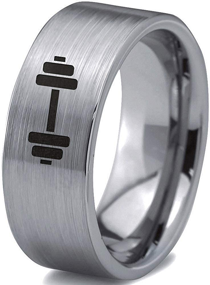 Black Gift Dome Flat Weightlifting Barbell Weight Ring Grey Brushed Wedding Polished Men Yellow Tungsten Band 8mm 18k Rose Gold Step Bevel Edge Blue Women