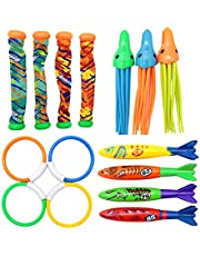 Newmind Fun Diving Toys Pool Toys for Party Game Gifts Dive Rings Diving Sticks Pool Fish Diving Gems Sinking Toys Set for Boys Girls