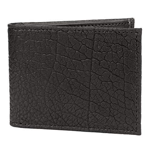 American Bison Leather Horizontal Trifold Wallet Handmade (Black)