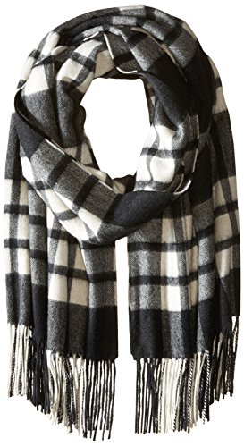 Phenix Cashmere Women's Plaid 100 Percent Cashmere Wrap, Black/White, One Size by Phenix Cashmere
