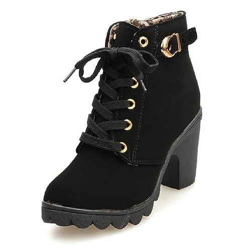 calidad primero cómo llegar zapatos deportivos Botines De Altos Tacón Mujer,Piel con Plataforma Ante Forrados Cordones 8  Cm Zapatos Moda Otoño Invierno Comodos Negro Verde Amarillo Rojo 35-41
