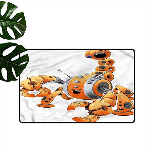 Washable Doormat Modern Orange Scorpion Robot Attack Personality W35 xL59