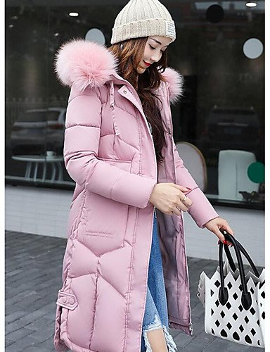 Simple ZHUDJ Coat Daily XL Blushing Going Solid Casual Sleeves Polyester Out Padded Women'S Polypropylene Pink Long CrxC1