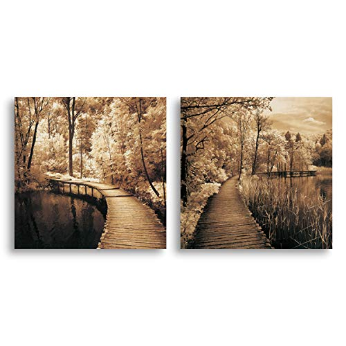 Mon Autumn Scene Canvas Print Bridge in Greenway Tree Forest Portray Landscape Picture Wall Art Vintage Retro Decoration for Living Room Bedroom Rustic Countryside Home Decor Artwork Framed16x16x2P