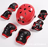 JIUBING Kids Youth Sports Protective Gear Set with Helmet Elbow Knee Wrist Safety Pad Safeguard for Rollerblading Bicycle BMX Bike Skateboard Hoverboard Outdoor Activities(red)