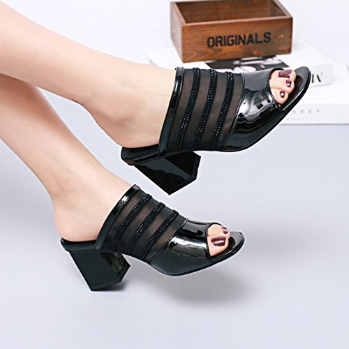 Easemax Womens Stylish Mesh Open Toe Dressy Block Mid Heels Slip On Mules Slide Sandals Shoes Black tlexNpGN