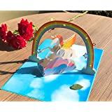 KEEPOOM 3D Unicorn Pop Up Card,Gift Greeting Card,Birthday Card & Special Gifts for Child,Lovely ,Funny and Special Card for Party