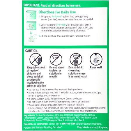 Polident Overnight Whitening, Antibacterial Denture Cleanser, Triple Mint Freshness 120 ea (Pack of 4)