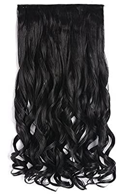 "OneDor 20"" Curly 3/4 Full Head Synthetic Hair Extensions Clip On/in Hairpieces 5 Clips 140g"