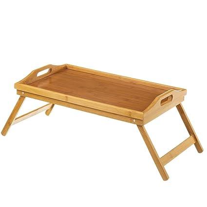 Bakaji Bandeja de cama con patas plegables (madera de bambu plegable 50 x 30