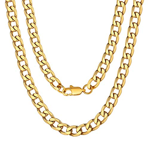 ChainsPro Gold Plated Chains Hiphop Necklaces Metal Stainless Steel Jewelry 22 inch Choker Golden