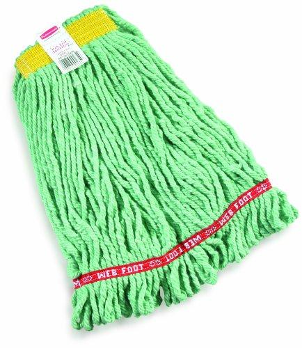 UPC 086876092349, Rubbermaid Commercial Web Foot Shrinkless Wet Mop, Small, 1-Inch Yellow Headband, Green (FGA21106GR00)