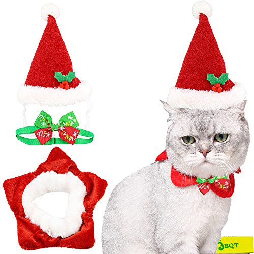 Cute Red and White Cat Dog Pet Christmas Santa Hat and Five-pointed Star Collar Costume and Collar Bow Tie for Small Cats Dogs Pets Kitten Puppy