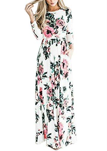 S Casual Maxi White XXXL DSCAO Pockets Long Dresses with Stretchy Women's xg8n8P