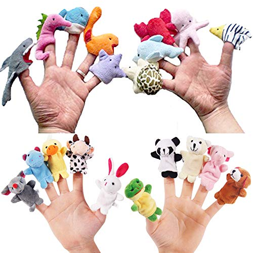 Pack of 20 Plush Finger Puppets, Sealive Sea & Zoo Animals Story Time Finger Puppet, Child Kids Early Education Toys Gift for Boys Girls]()