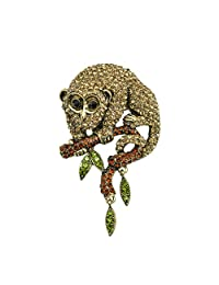 TTjewelry Unique Monkey Animal Brown Austria Crystal Gold-Tone Brooch