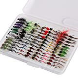Bassdash Fly Fishing Flies Kit Fly Assortment Trout Fishing with Fly Box, 36/64/72/80/96pcs with Dry/Wet Flies, Nymphs, Streamers, Popper