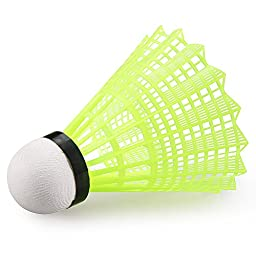 12 Counts Kevenz Training Sport Feather Shuttlecocks Badminton Ball Game (Yellow,Nylon)