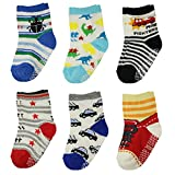 Hip Mall 6 Pairs Baby Kids Socks Ankle Toddler Infant Non-skid Walkers Socks
