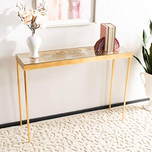 Safavieh CNS2500A Home Collection Leilani Palm Gold Leaf Console Table,