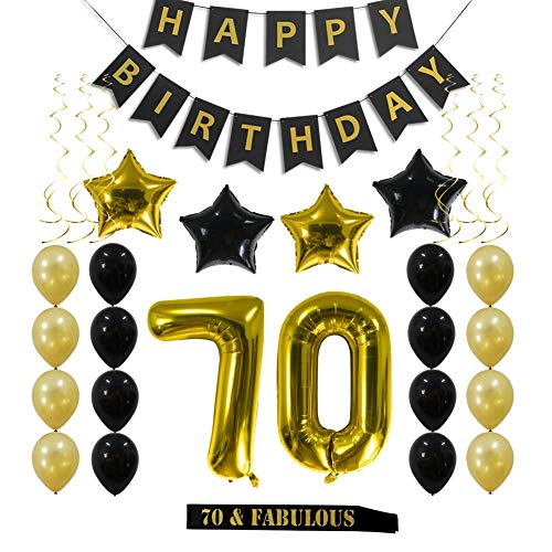 70th Birthday Decorations Party Supplies Gift for Men Women - 70 Birthday Sash, Happy Birthday Banner, 70 Gold Number Balloons, Sparkling Hanging Swirls, Black and Gold Balloons